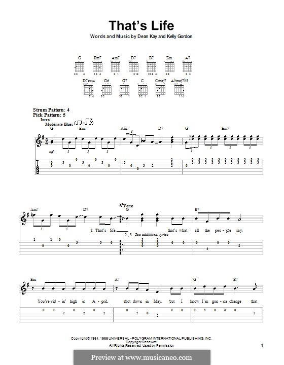 That's Life (Frank Sinatra): For easy guitar with tab by Dean Kay, Kelly Gordon
