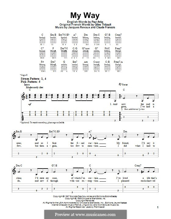 My Way: Для гитары (легкий уровень) (Frank Sinatra) by Claude Francois, Jacques Revaux
