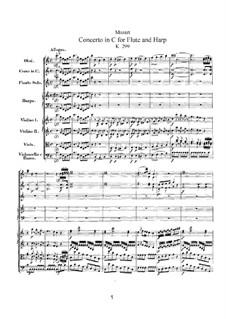Концерт для флейты, арфы и орекстра до мажор, K.299: Партитура by Вольфганг Амадей Моцарт