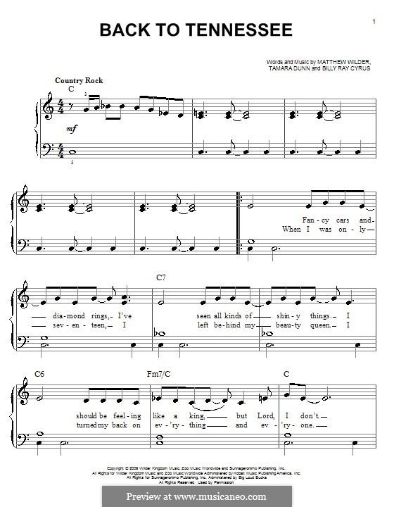 Back to Tennessee: Для фортепиано (легкий уровень) by Matthew Wilder, Tamara Dunn