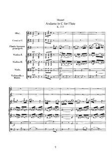 Анданте для флейты с оркестром до мажор, K.315: Партитура by Вольфганг Амадей Моцарт