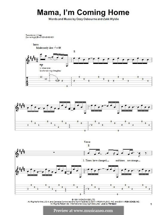 Mama, I'm Coming Home (Ozzy Osbourne): Гитарная табулатура by Zakk Wylde