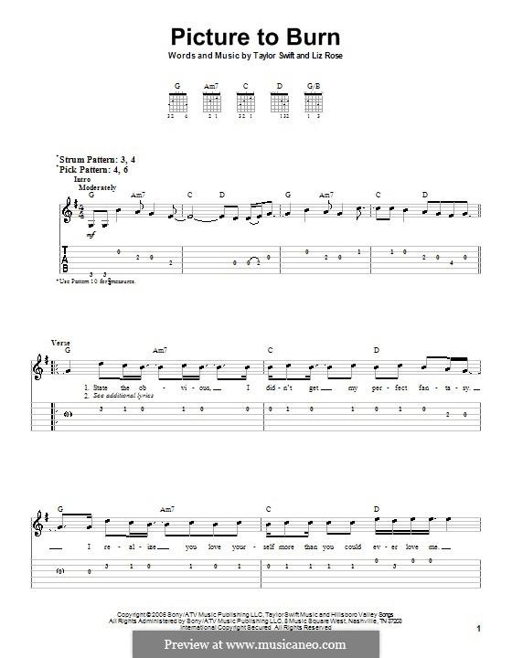 Picture to Burn (Taylor Swift): Для гитары (очень легкая версия) by Liz Rose