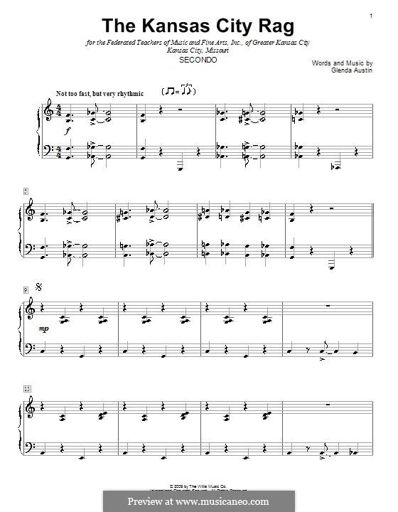 The Kansas City Rag: Для фортепиано в 4 руки by Glenda Austin