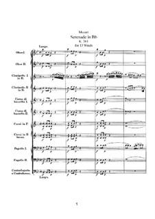 Серенада для духовых инструментов No.10 си-бемоль мажор, K.361: Партитура by Вольфганг Амадей Моцарт