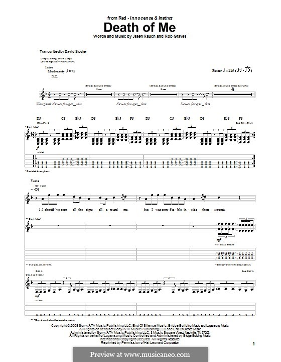 Death of Me (RED): Гитарная табулатура by Jasen Rauch, Rob Graves