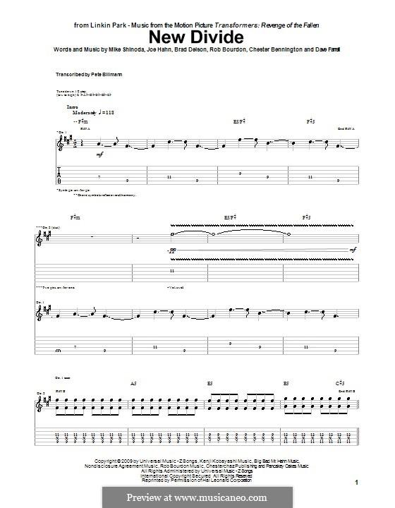 New Divide (Linkin Park): Для гитары by Brad Delson, Charles Bennington, David Farrell, Joseph Hahn, Mike Shinoda, Rob Bourdon