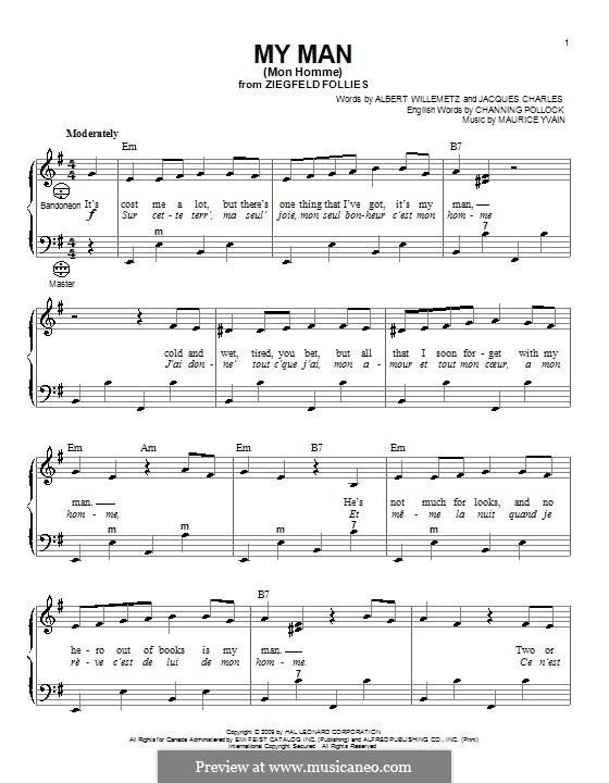 My Man (Mon Homme): Для аккордеона by Maurice Yvain