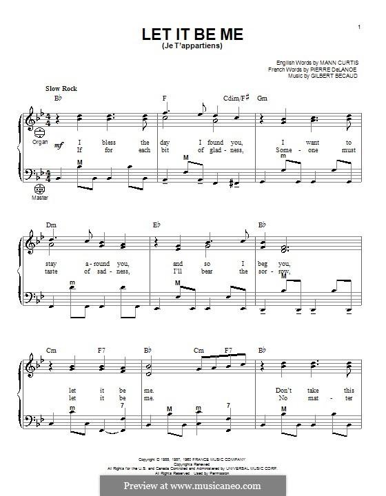 Let It Be Me (Je T'appartiens): Для аккордеона by Gilbert Becaud, Manny Kurtz, Pierre Delanoe