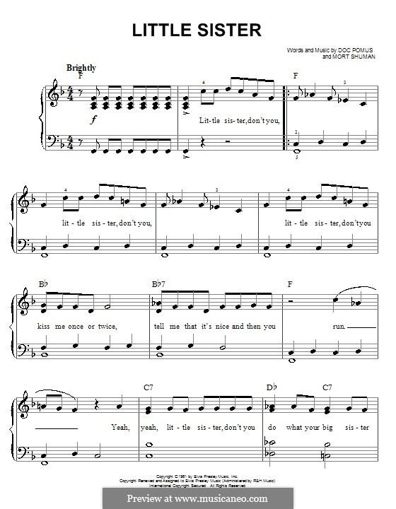 Little Sister (Elvis Presley): Для начинающего пианиста by Doc Pomus, Mort Shuman