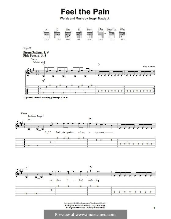 Feel the Pain (Dinosaur Jr.): Для гитары (очень легкая версия) by Joseph Mascis Jr.