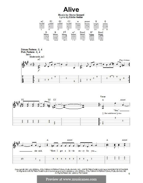 Alive (Pearl Jam): Для гитары (очень легкая версия) by Stone Gossard