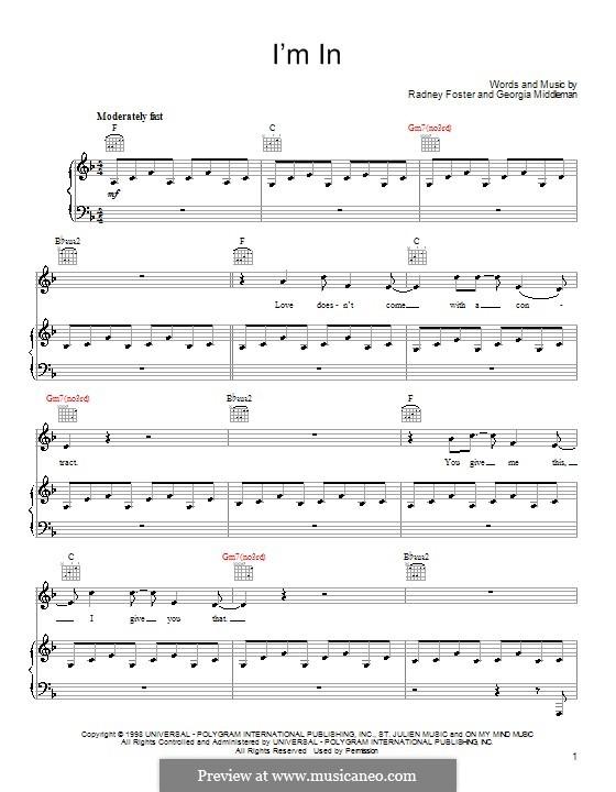 I'm in (Keith Urban): Для голоса и фортепиано (или гитары) by Georgia Middleman, Radney Foster