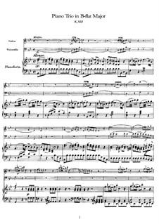Трио для скрипки, виолончели и фортепиано си-бемоль мажор, K.502: Партитура by Вольфганг Амадей Моцарт