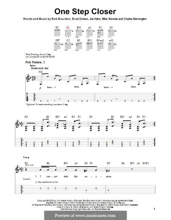 One Step Closer (Linkin Park): Для гитары (очень легкая версия) by Brad Delson, Charles Bennington, Joseph Hahn, Mike Shinoda, Rob Bourdon