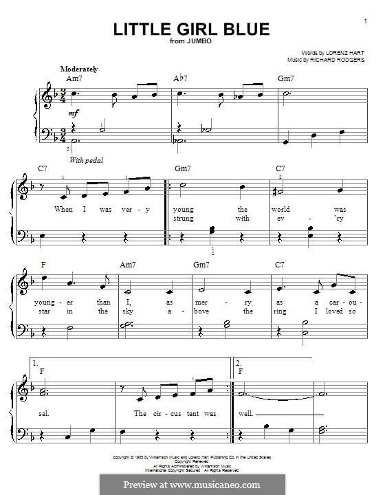 Little Girl Blue: Для фортепиано (легкий уровень) by Richard Rodgers