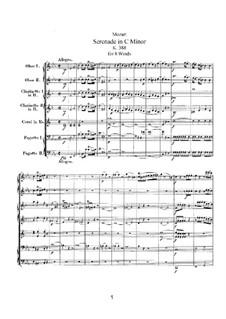 Серенада для духовых инструментов No.12 до минор, K.388: Партитура by Вольфганг Амадей Моцарт