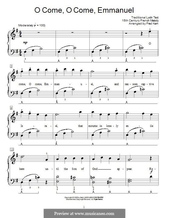 O Come, O Come, Emmanuel: Для фортепиано (легкий уровень) by folklore