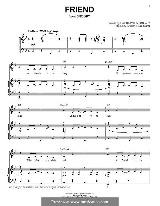 Friend (Hal Clayton Hackady): Для голоса и фортепиано (или гитары) by Larry Grossman