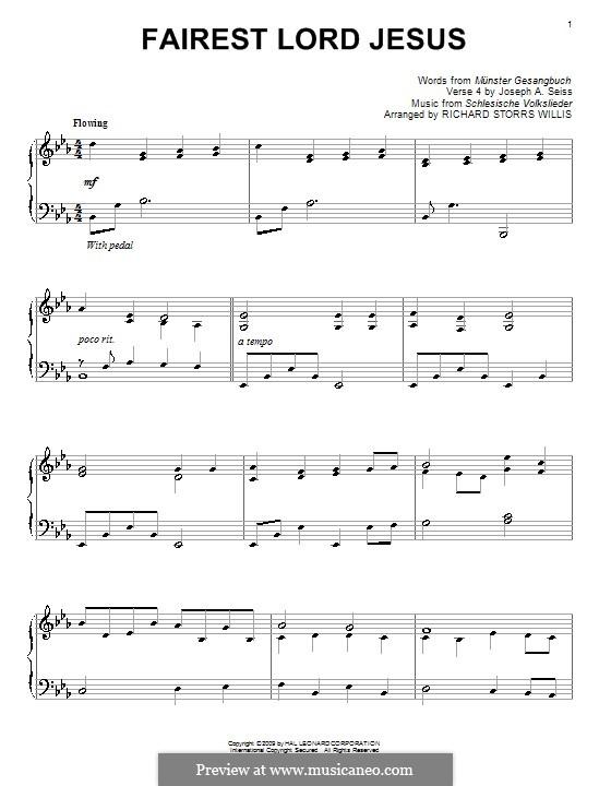 Fairest Lord Jesus: Для фортепиано (ноты высокого качества) by folklore