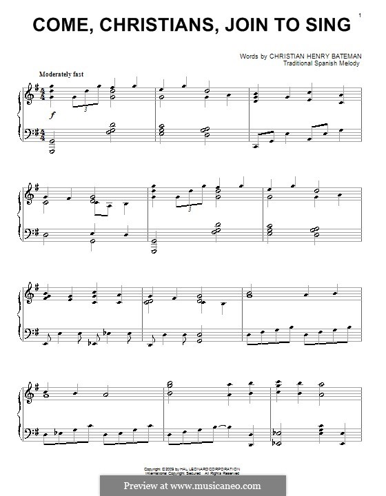 Come, Christians, Join to Sing: Для фортепиано by folklore
