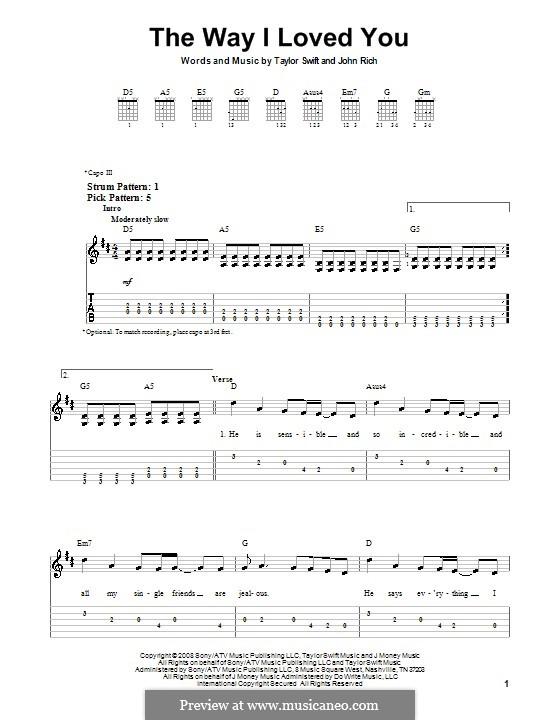 The Way I Loved You (Taylor Swift): Для гитары (очень легкая версия) by John Rich