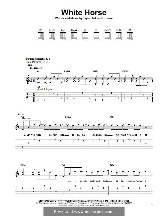 White Horse (Taylor Swift): Для гитары (очень легкая версия) by Liz Rose