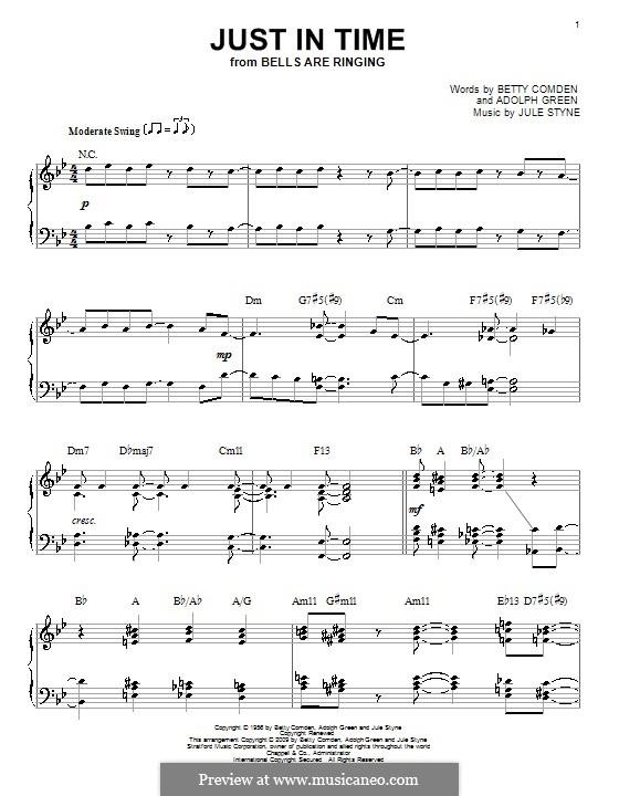 Just in Time (Frank Sinatra): Для фортепиано by Jule Styne