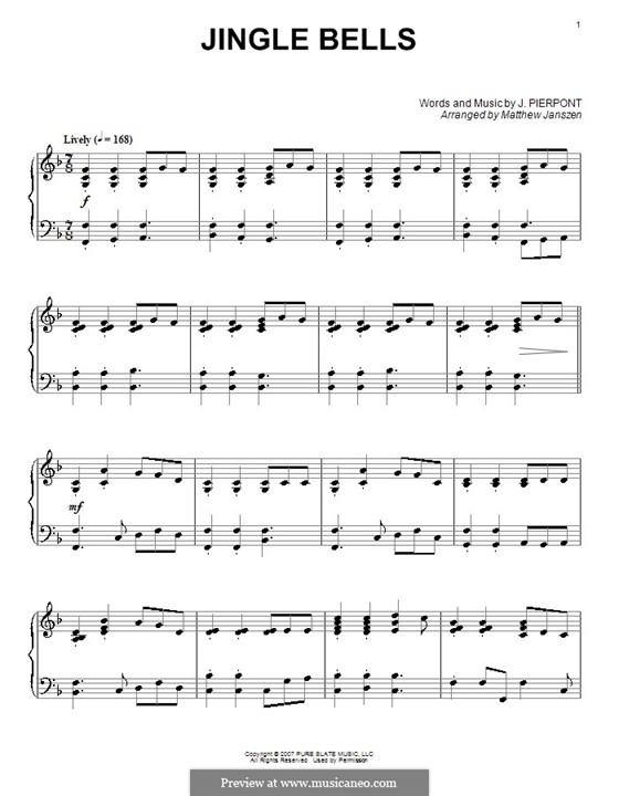 Jingle Bells, for Piano: Arranged by Janszen by James Lord Pierpont