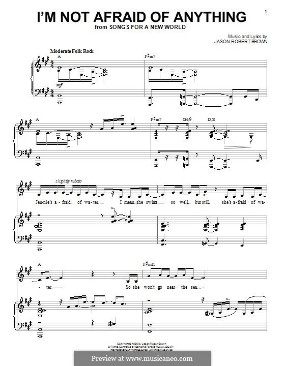 I'm Not Afraid of Anything: Для голоса и фортепиано (или гитары) by Jason Robert Brown