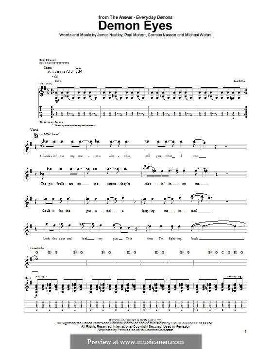 Demon Eyes (The Answer): Гитарная табулатура by Cormac Neeson, James Heatley, Michael Waters, Paul Mahon
