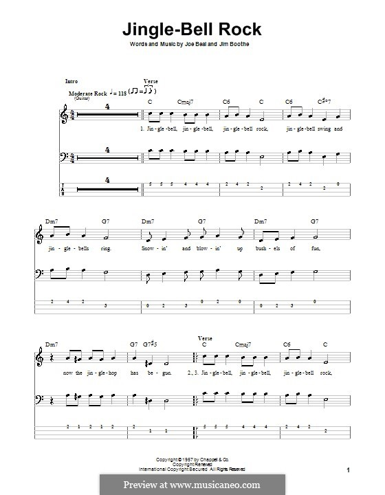 Jingle Bell Rock: Для бас-гитары с табулатурой (Bobby Helms) by Jim Boothe, Joe Beal