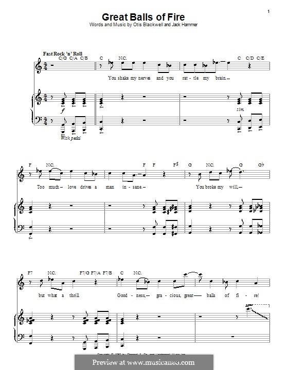 Great Balls of Fire (Jerry Lee Lewis): Для голоса и фортепиано или гитары (до мажор) by Jack Hammer, Otis Blackwell