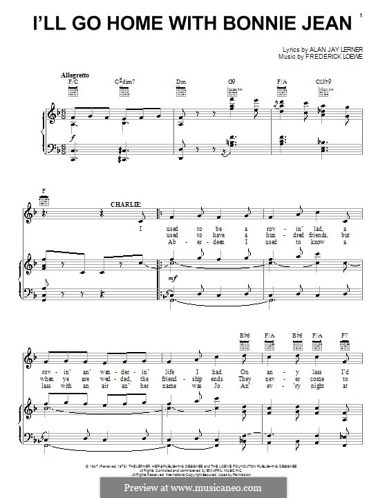 I'll Go Home with Bonnie Jean: Для голоса и фортепиано (или гитары) by Frederick Loewe