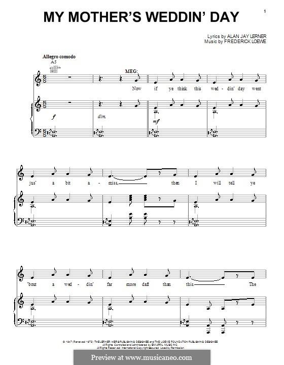 My Mother's Weddin' Day: Для голоса и фортепиано (или гитары) by Frederick Loewe
