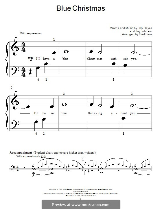 Blue Christmas, for Piano: Очень легкая версия by Billy Hayes, Jay Johnson