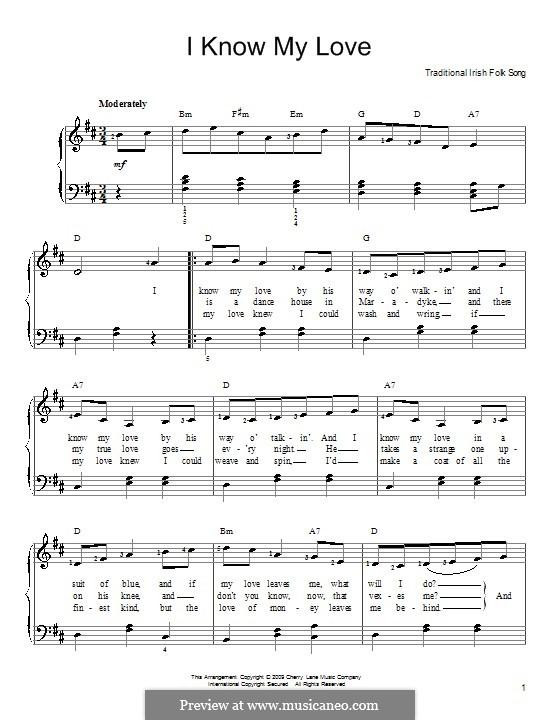 I Know My Love: Для фортепиано (легкий уровень) by folklore