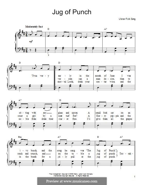Jug of Punch: Для фортепиано (легкий уровень) by folklore