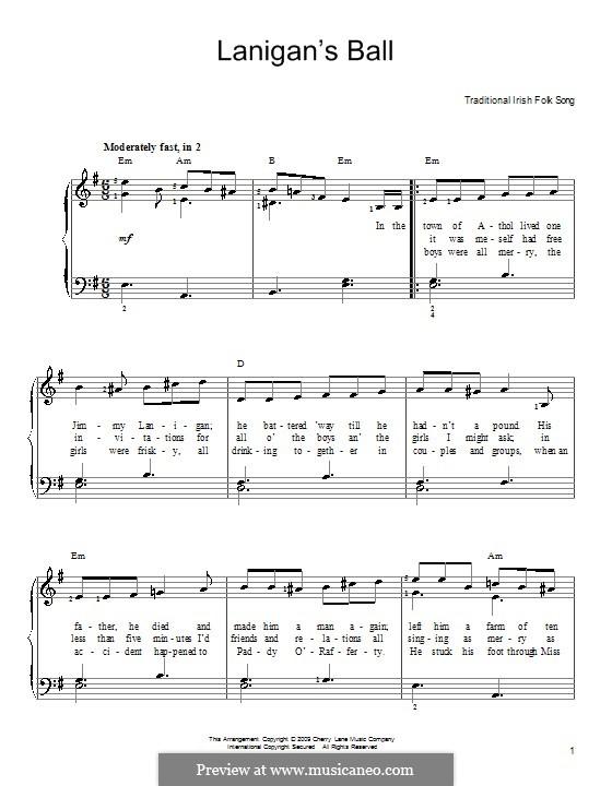 Lanigan's Ball: Для фортепиано (легкий уровень) by folklore
