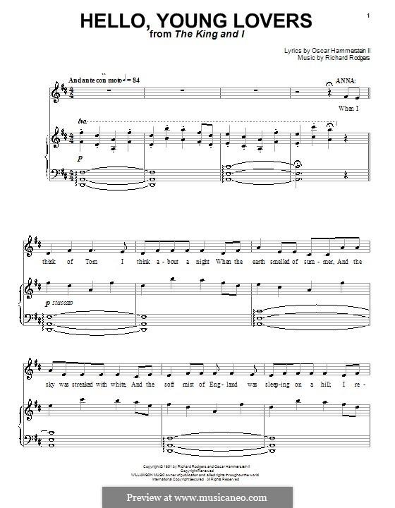 Hello, Young Lovers: Для голоса и фортепиано или гитары (ре мажор) by Richard Rodgers