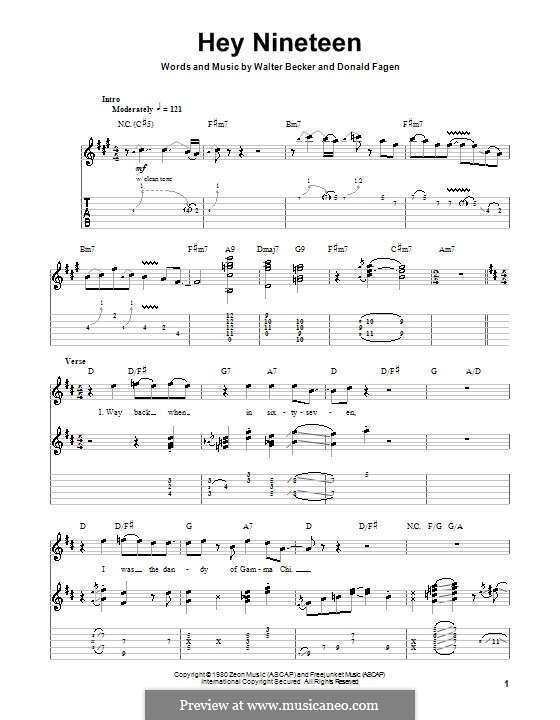Hey Nineteen (Steely Dan): Гитарная табулатура by Donald Fagen, Walter Becker