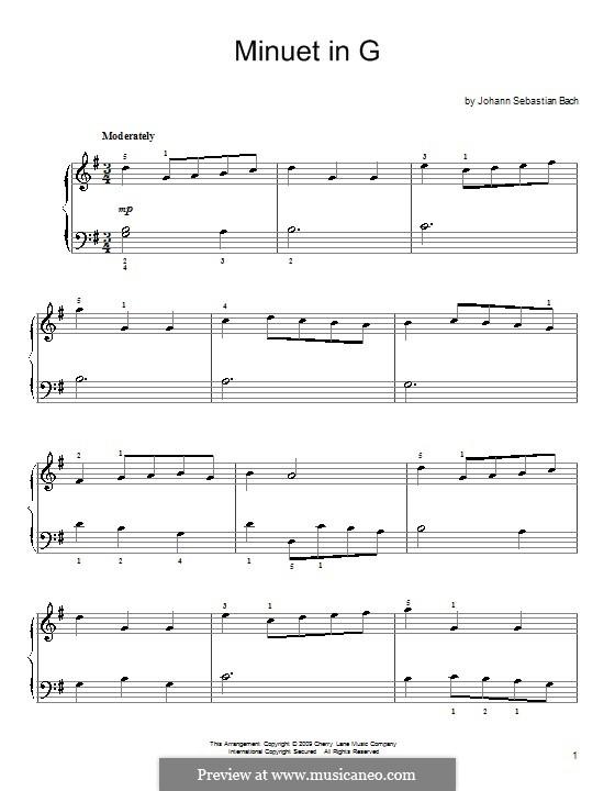 No.4 Менуэт соль мажор, для фортепиано: Для одного исполнителя by Иоганн Себастьян Бах