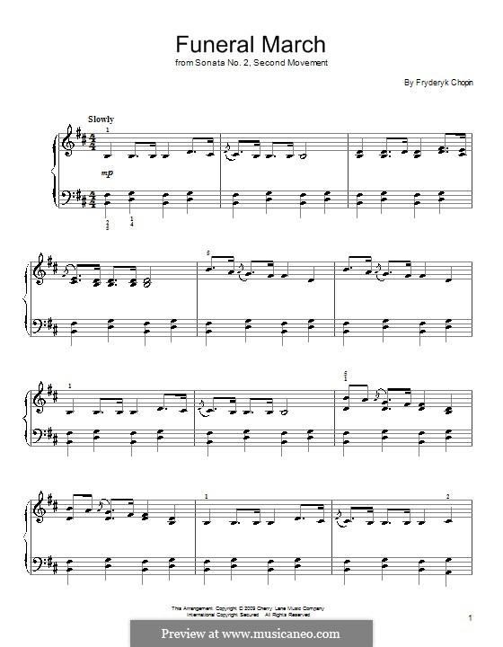Соната для фортепиано No.2 си-бемоль минор, Op.35: Movement III, for easy piano by Фредерик Шопен