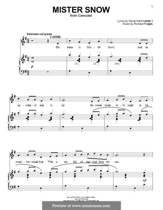 Mister Snow (from Carousel): Для голоса и фортепиано или гитары by Richard Rodgers
