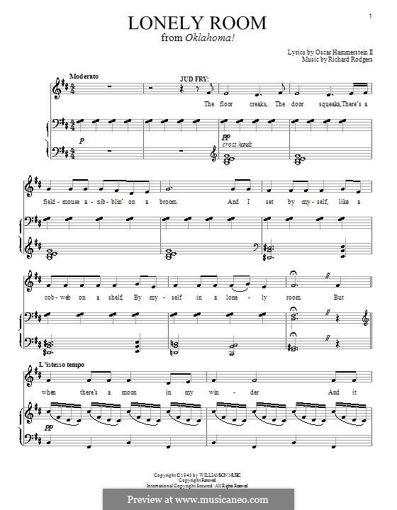 Lonely Room: Для голоса и фортепиано или гитары by Richard Rodgers