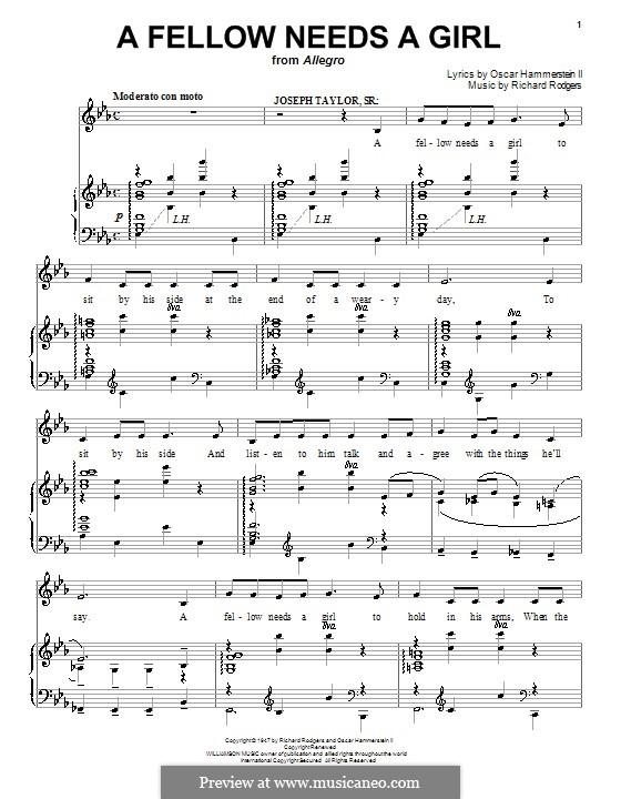 A Fellow Needs a Girl (from Allegro): Для голоса и фортепиано или гитары by Richard Rodgers