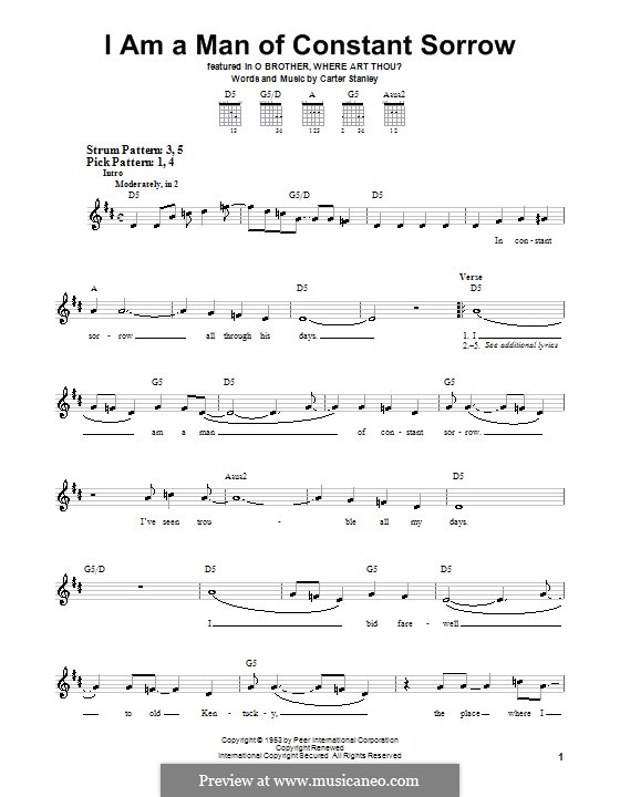 I am a Man of Constant Sorrow (The Soggy Bottom Boys): For easy guitar with tab by Carter Stanley