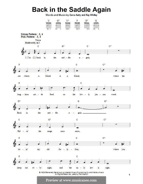 Back in the Saddle Again: Для гитары (очень легкая версия) by Ray Whitley