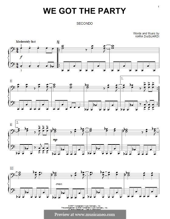 We Got the Party (Hannah Montana): Для фортепиано в 4 руки by Kara DioGuardi