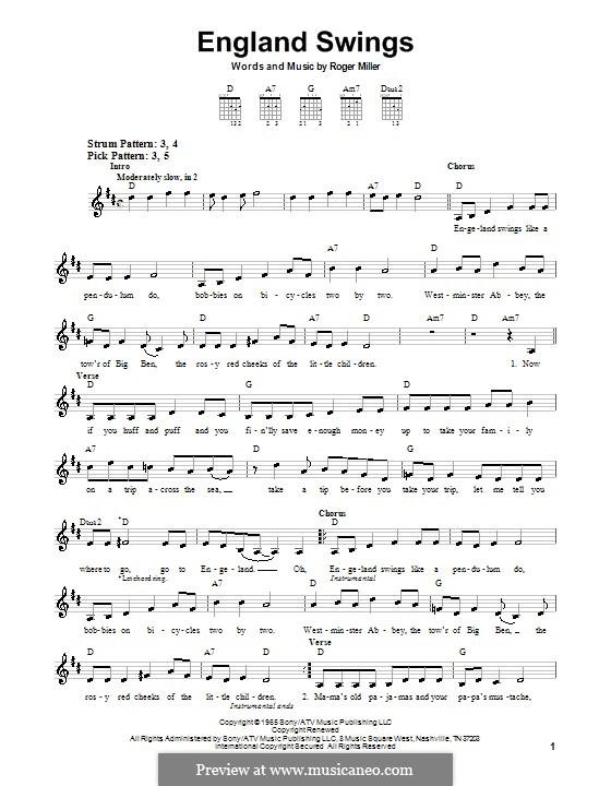 England Swings: Для гитары (очень легкая версия) by Roger Miller